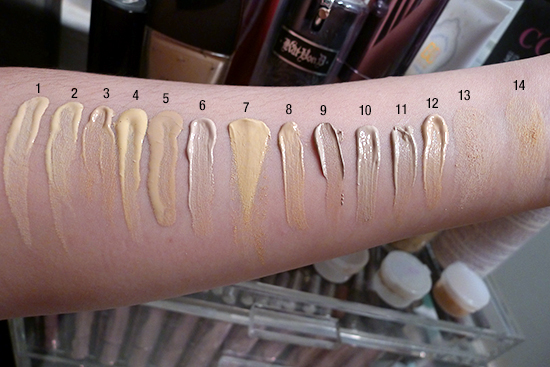 foundation swatches Kat Von D MAC Guerlain Chanel NC15 NW15 Beige 10 Light 48 Light 44